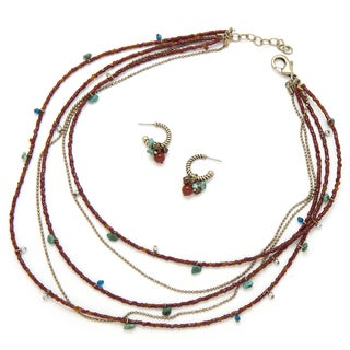 Alex Rae by Peyote Bird Designs Five Strand Carnelian and Chain Necklace and Earring Set