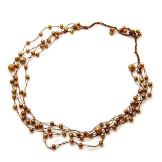 Alex Rae by Peyote Bird Pearls on Silk Necklace