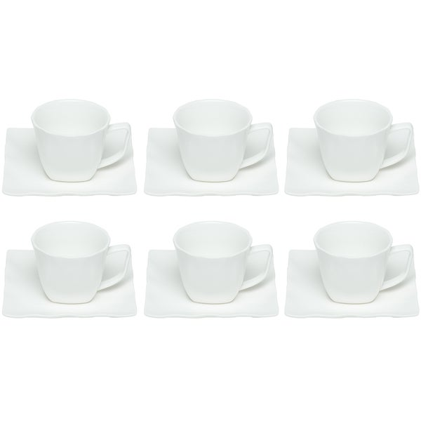Red Vanilla Wave Cup and Saucers (Set of 6)