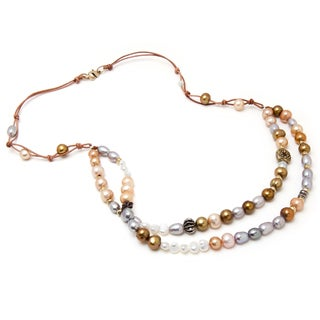 Alex Rae by Peyote Bird Designs Brass Pearl and Knotted Leather Necklace