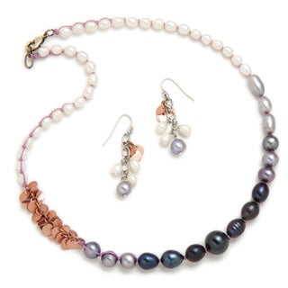 Alex Rae by Peyote Bird Designs Color Block Pearl Necklace and Earring Set