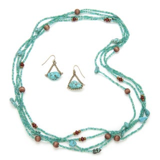 Alex Rae by Peyote Bird Designs Endless Turquoise and Bead Necklace and Earring Set