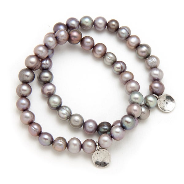 Alex Rae by Peyote Bird Designs Grey Pearl with Charm Stretch Bracelet