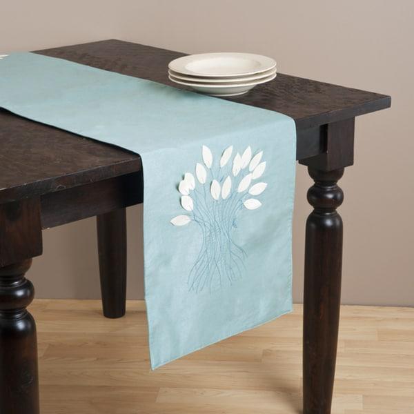 Kitchen Linens Aqua Color Leaf Design Runner