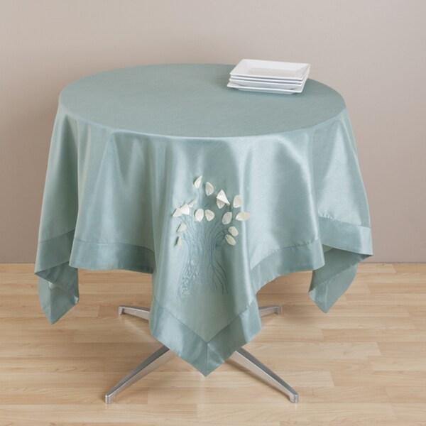 Kitchen Linens Aqua Color Leaf Design Topper