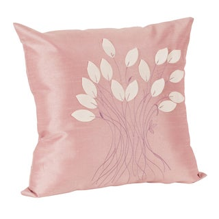 Leaf Design Decorative Rose Throw Pillow