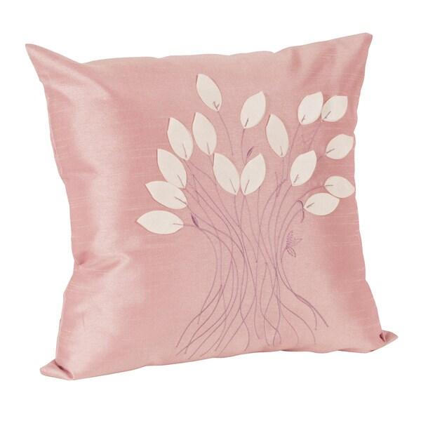 Leaf Design Decorative Rose Throw Pillow