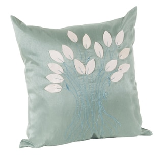 Leaf Design Aqua Decorative Throw Pillow