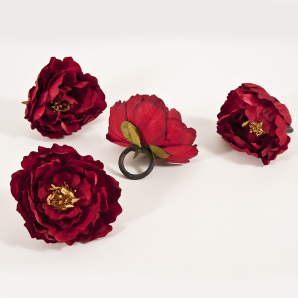 Peony Red Napkin Ring (Set of 4)