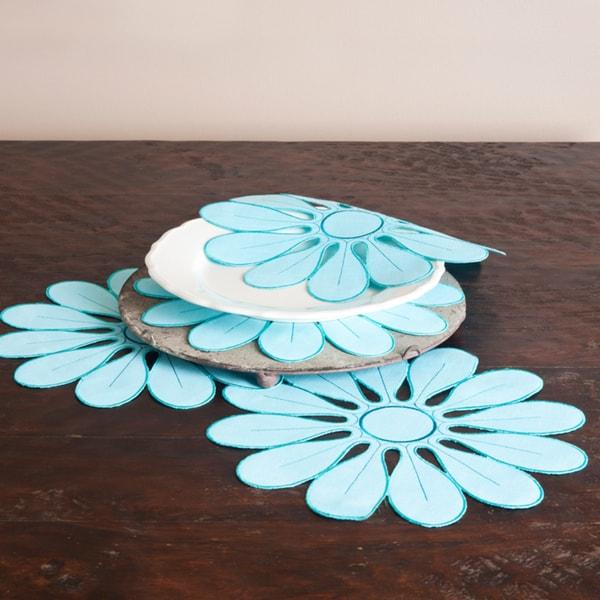 Flower Aqua Design Doilies (Set of 4)