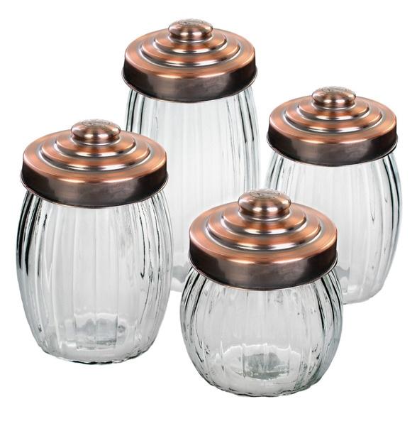 Global Amici Ribbed Glass Jars (Set of 4)