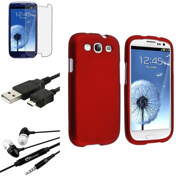Dark Red BasAcc Case/Screen Protector/Headset for Samsung Galaxy S3
