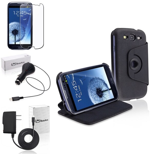 INSTEN Leather Case Cover/ Screen Protector/ Chargers for Samsung Galaxy S3