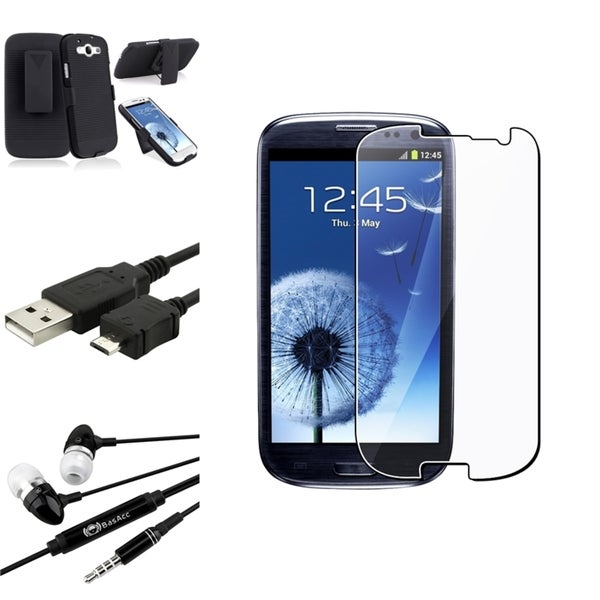 BasAcc Holster Case/Anti-Scratch Screen Protector/Headset for Samsung Galaxy S3