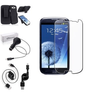 BasAcc Swivel Case/Screen Protector/Charger for Samsung Galaxy S3