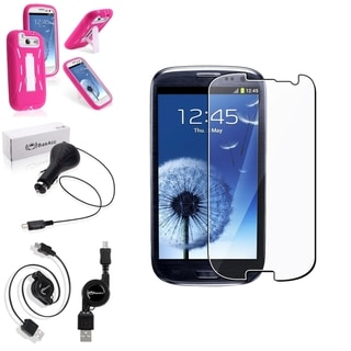 BasAcc Pink Case/Screen Protector/Charger for Samsung Galaxy S3