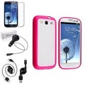 BasAcc Pink Trim Case/Screen Protector/Charger For Samsung Galaxy S3