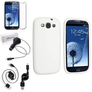 BasAcc White Silicone Case/Screen Protector/Charger for Samsung Galaxy S3