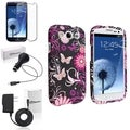BasAcc Pink Butterfly Case/Screen Protector/Chargers for Samsung Galaxy S3