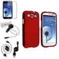 BasAcc Red Rubber Case/Screen Protector/Charger for Samsung Galaxy S3