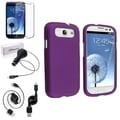 BasAcc Purple Rubber Case/Screen Protector/Charger for Samsung Galaxy S3