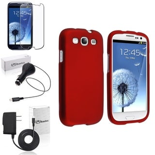 BasAcc Red Snap-On Case/Screen Protector/Chargers for Samsung Galaxy S3