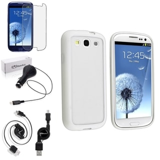 BasAcc White Trim TPU Case/Screen Prtoector/Charger for Samsung Galaxy S3