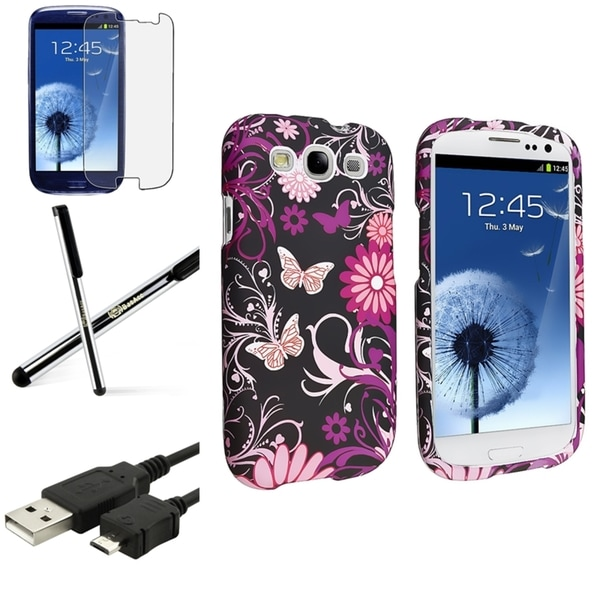 INSTEN Pink Butterfly Snap-On Phone Case Cover/ Screen Protector/ Stylus for Samsung Galaxy S3