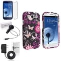 BasAcc Pink Butterfly Snap-On Case/Screen Protector/Chargers for Samsung Galaxy S3