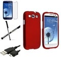 BasAcc Red Case/Screen Protector/Stylus for Samsung Galaxy S3