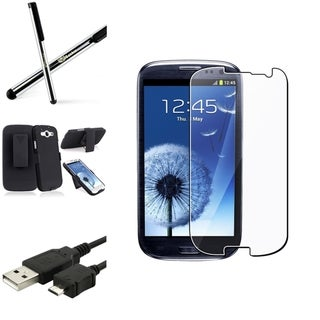INSTEN Black Holster Phone Case Cover/ Screen Protector/ Stylus for Samsung Galaxy S3