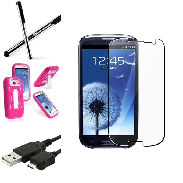 BasAcc Pink Hybrid Case/Screen Protector/Stylus for Samsung Galaxy S3