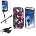 BasAcc Pink Butterfly Rubber Case/Screen Protector/Stylus for Samsung Galaxy S3
