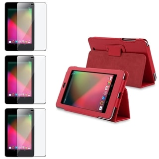 BasAcc Red Leather Case/ Anti-glare LCD Protector for Google Nexus 7