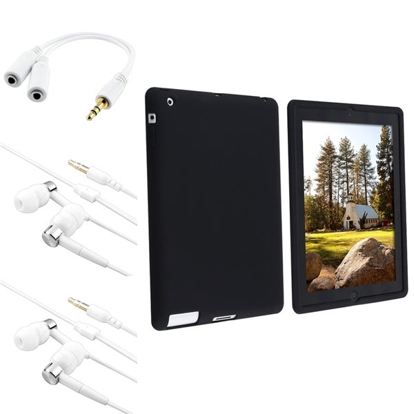 INSTEN Black Soft Silicone Tablet Case Cover/ Headsets/ Splitter for Apple iPad 2