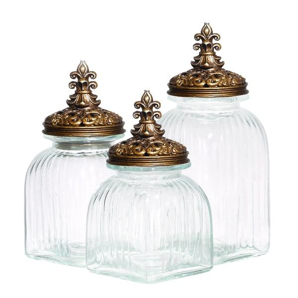 Casa Cortes Baroque Fleur De Lis 3-piece Gold Lid Glass Canister Set
