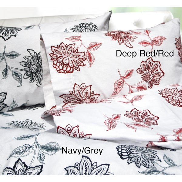 Tribeca Living Flower Printed Extra Deep Pocket Flannel Sheet Set
