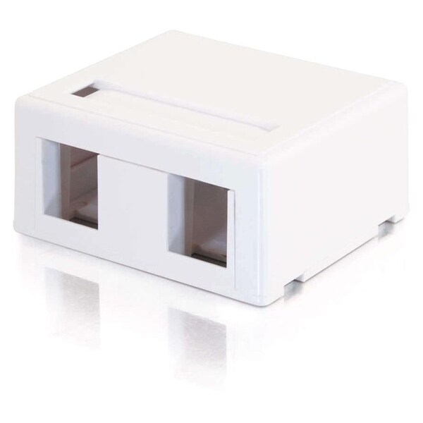 C2G 2-Port Keystone Jack Surface Mount Box - White