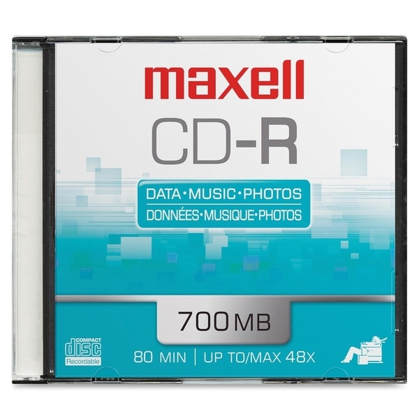 Maxell CD Recordable Media - CD-R - 48x - 700 MB - 1 Pack Slim Jewel