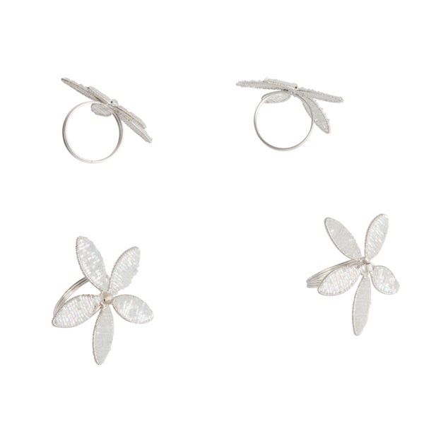 Saro Silver Beaded Napkin Ring (Set of 4)