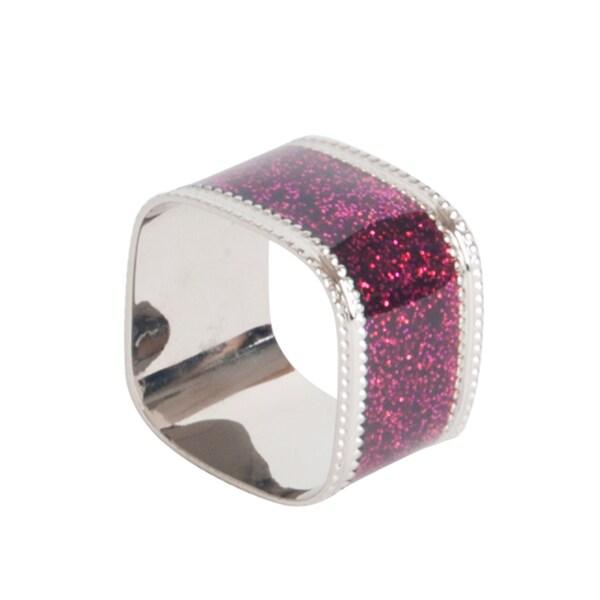 Sparkling Square Design Napkin Rings (Set of 4)