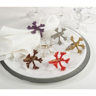 Beaded Coral Napkin Rings (Set of 4)