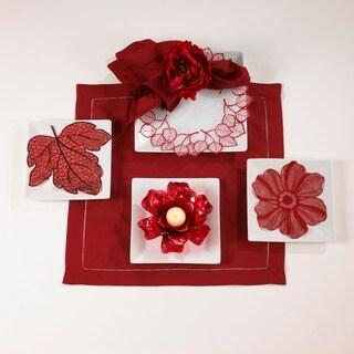 Leaf Design Sangria Red Doilies (Set of 4)