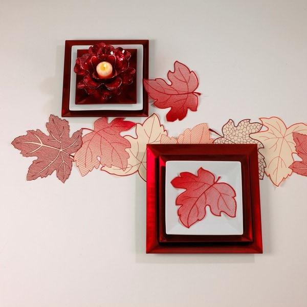 Leaf Design Crimson Doilies (Set of 4)