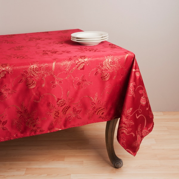 "Jacquard Red Holiday Tablecloth (70"" x 104"")"