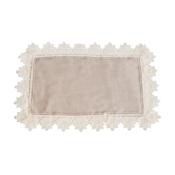 Lace Trim Taupe Traycloth