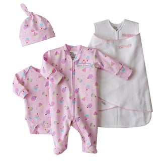 HALO SleepSack Swaddle Pink Dot/ Cupcake Take-Me-Home Safety Gift Set (Newborn)