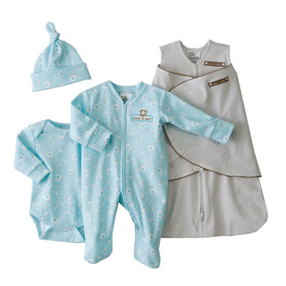 HALO SleepSack Swaddle Turquoise Dot Take-Me-Home Safety Gift Set (Newborn)