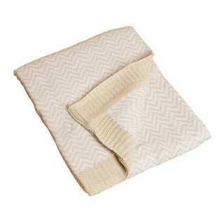 Saro Natural Herringbone Baby Blanket