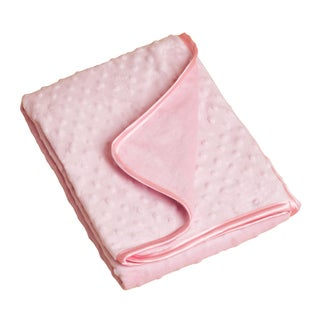 Saro Pink Raised Dots Plush Baby Blanket